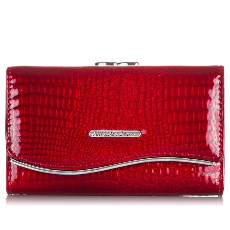 Czerwony portfel damski ze skóry naturalnej